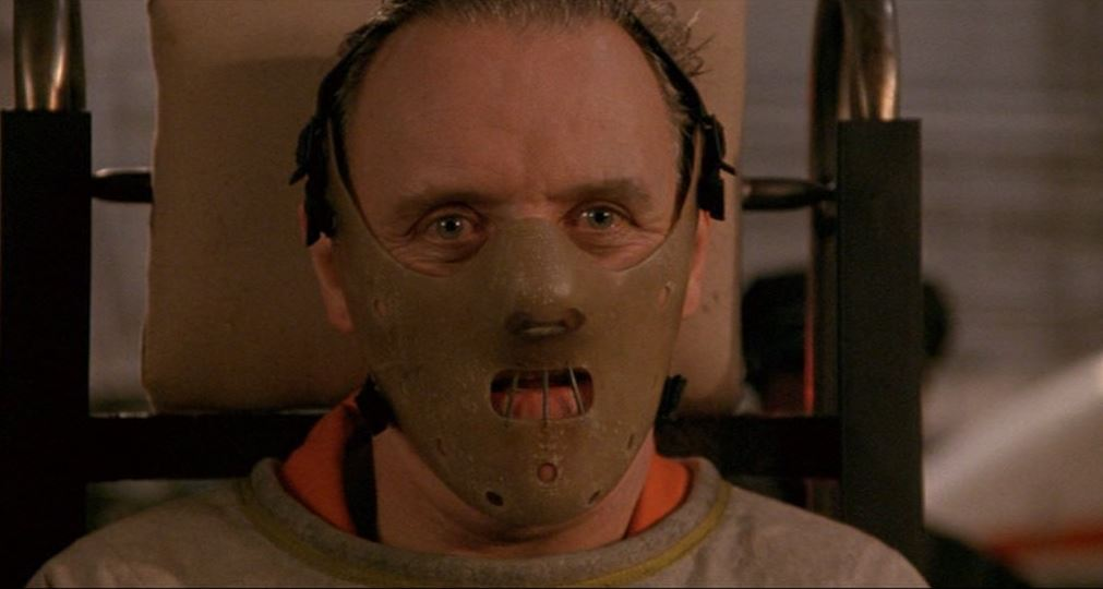 Hannibal Lector with his face mask on in The Silence of the Lambs.