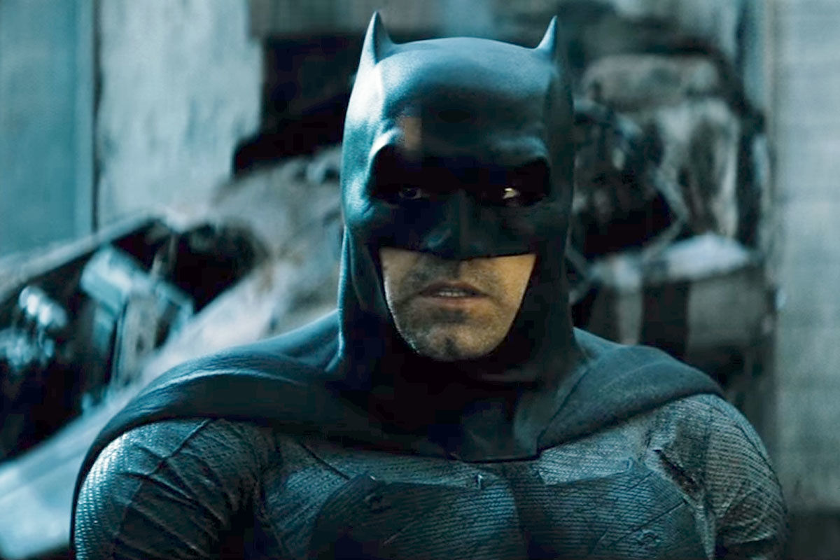 Ben Affleck in costume as Batman in Batman v Superman: Dawn of Justice