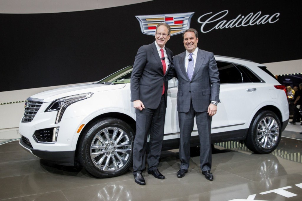 Johan de Nysschen (left) with GM vice president Mark Reuss at the Cadillac XT5 reveal. | Cadillac