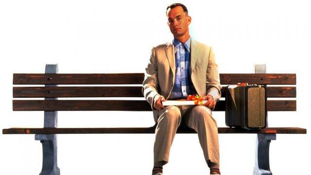 Tom Hanks in Forrest Gump with a box of chocolates