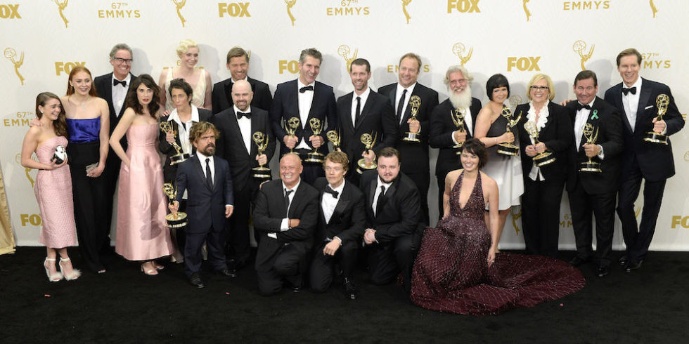 The cast of Game of Thrones at the Emmys holding their awards
