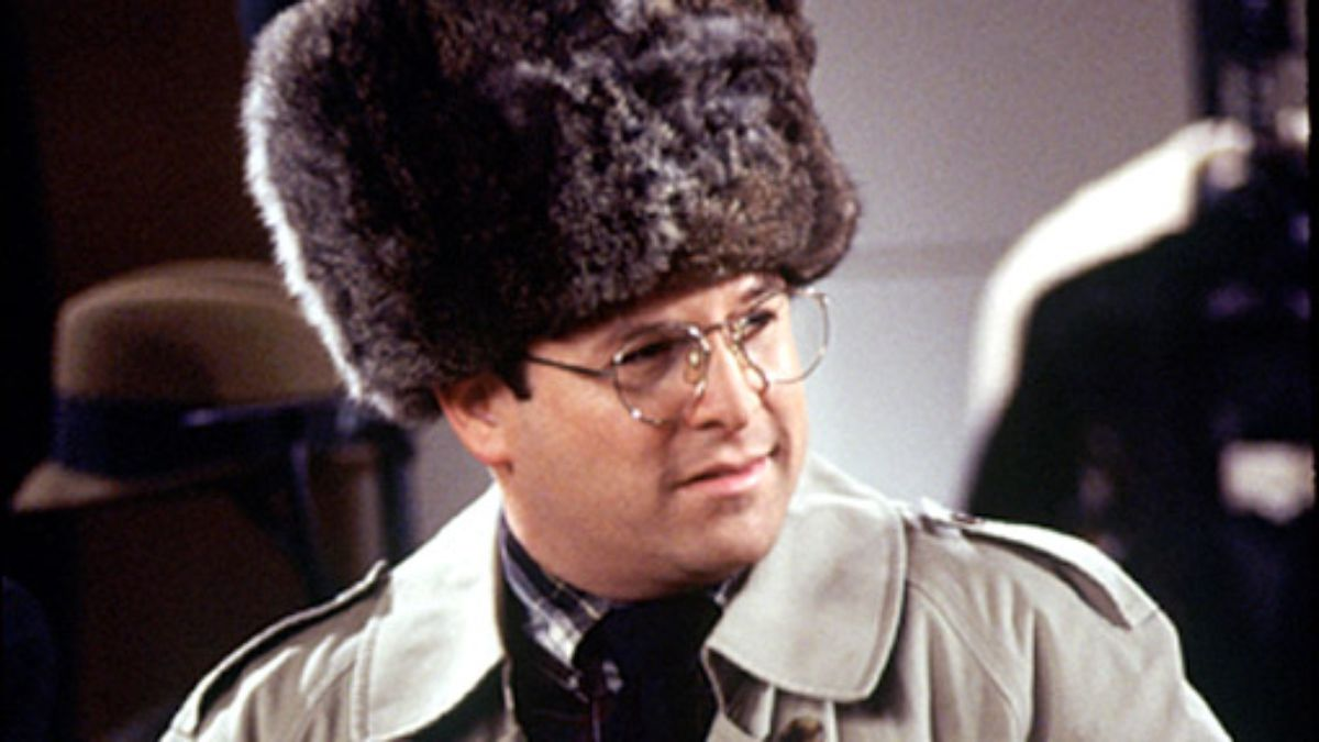 George Costanza from Seinfeld in a ridiculous hat