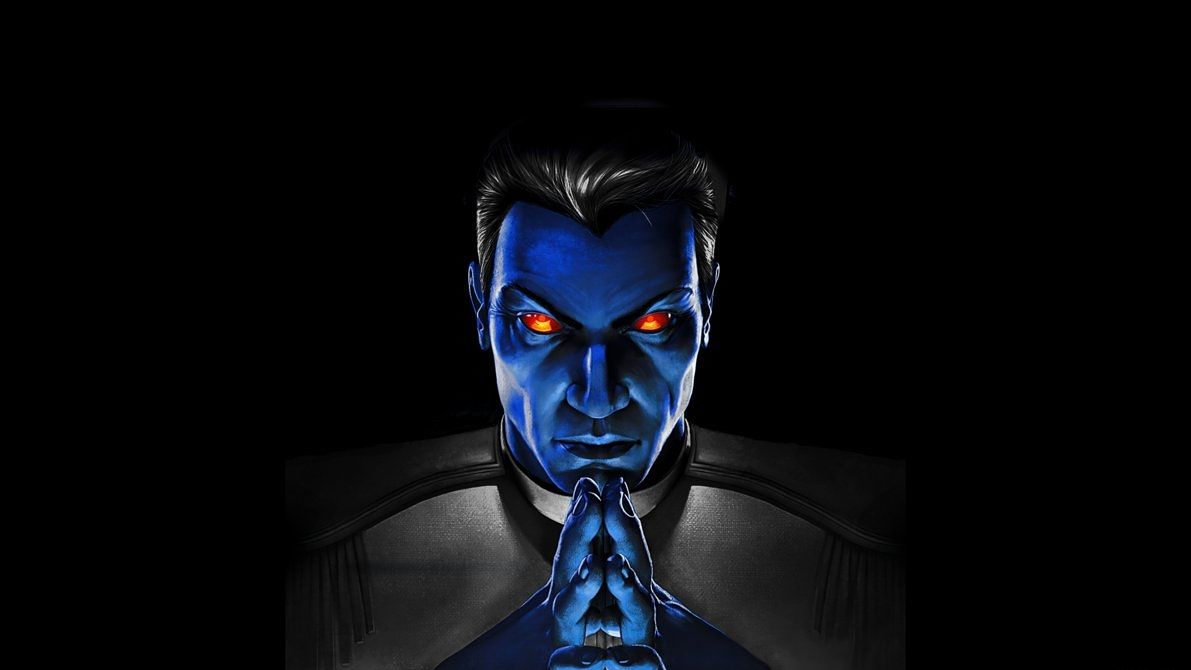 A blue-skinned Thrawn, folding his hands and looking into the camera menacingly