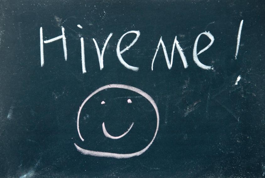 hire me written on a chalkboard