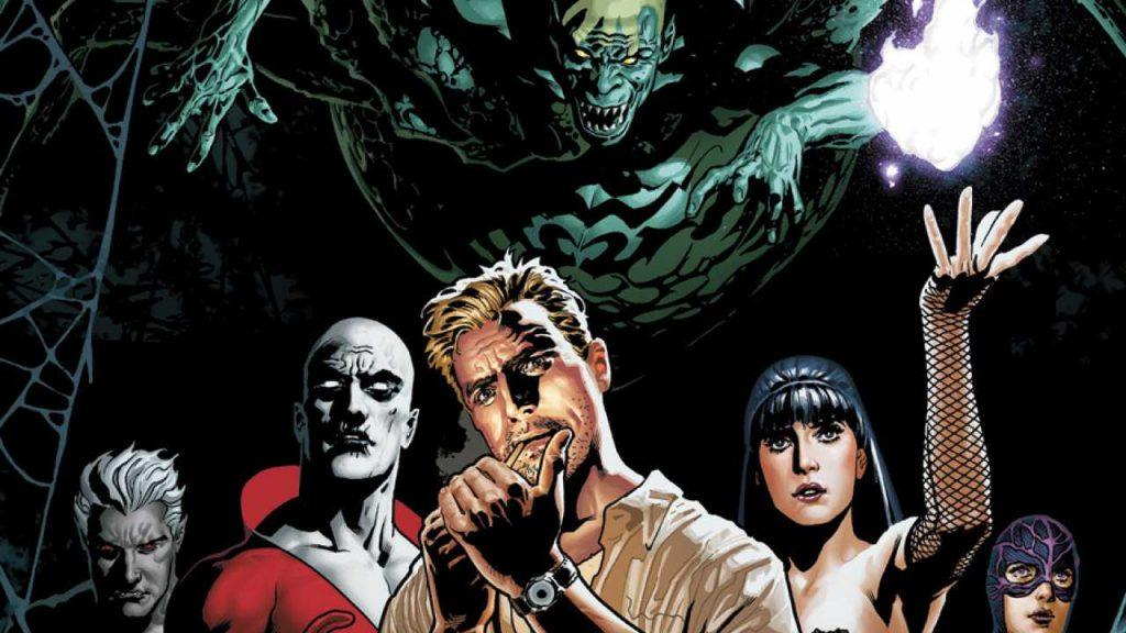 A team of heroes pose under a monster in an issue of Justice League Dark