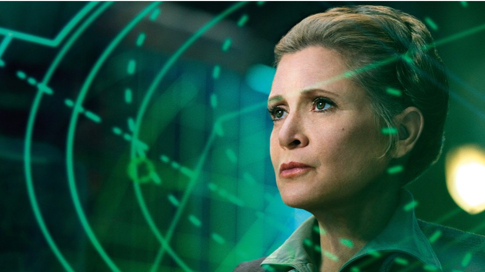 Leia looking to the left, highlighted by striking green lasers