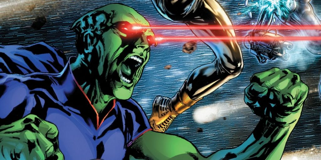 Martian Manhunter firing red lasers out of his eyes
