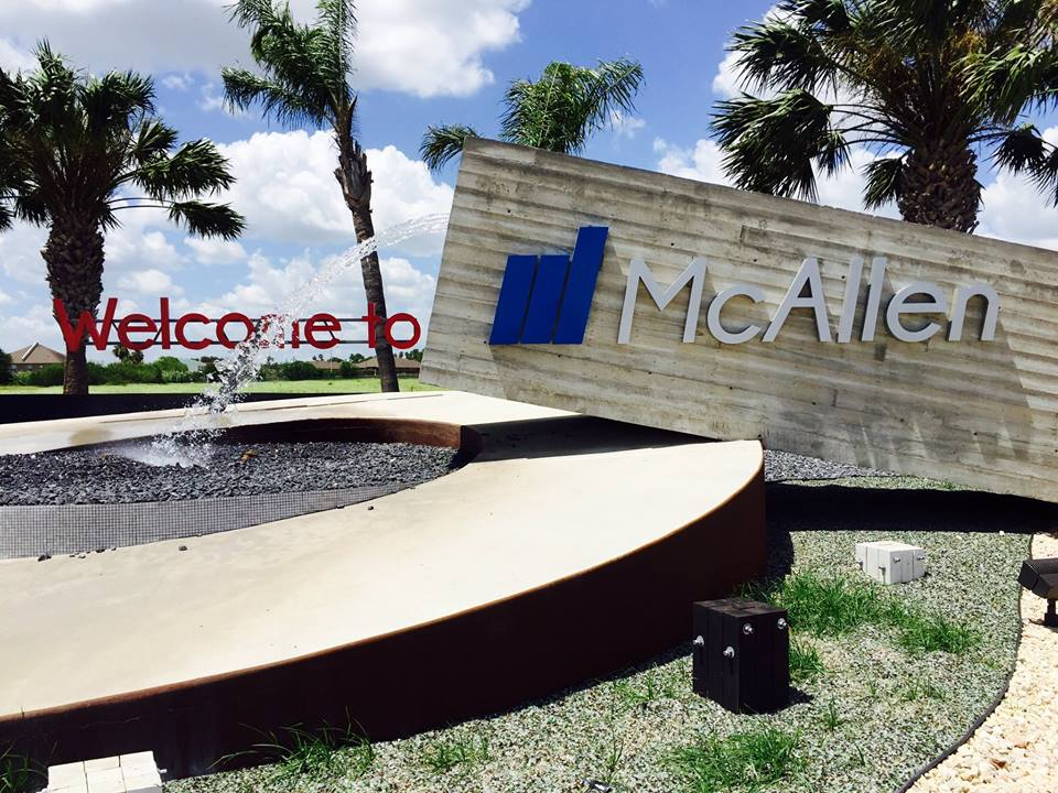 The McAllen, Texas welcome sign