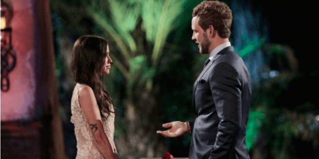 Nick Viall and Kaitlyn Bristowe talking on 'The Bachelorette'.