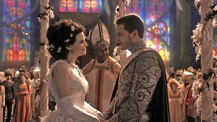 Ginnifer Goodwin and Josh Dallas getting married on Once Upon a Time, in a church in front of a bishop
