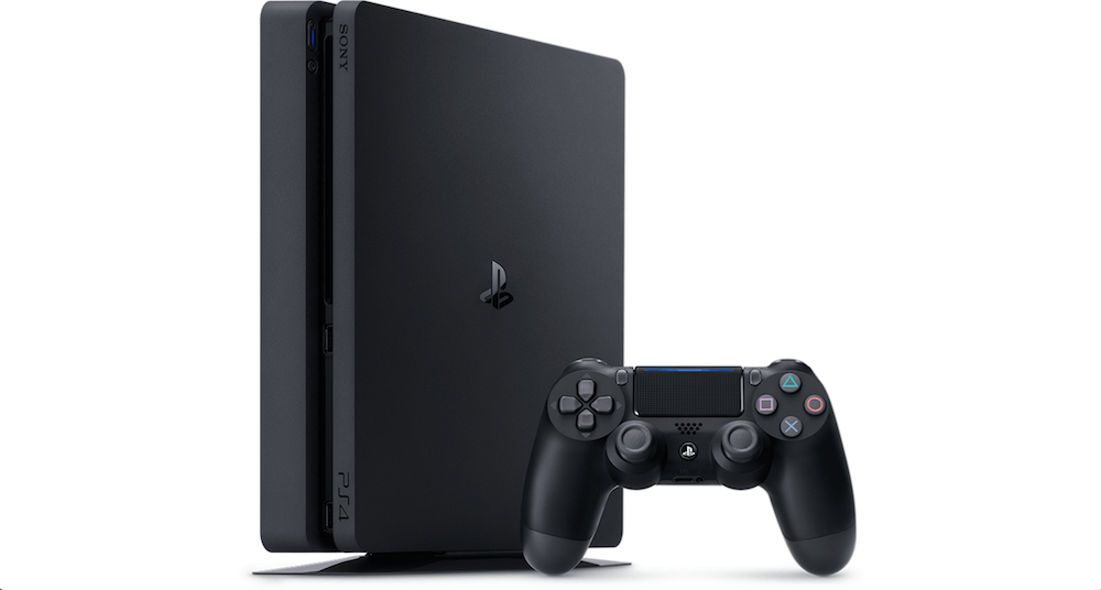 PlayStation 4 slim model with controller