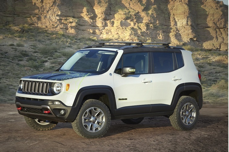Three-quarter front view of Jeep Renegade
