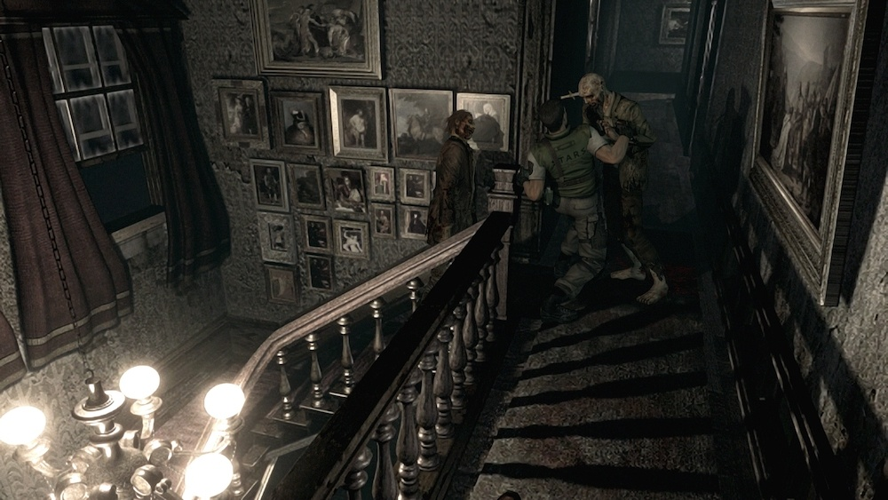 Shooting zombies in 'Resident Evil HD Remaster'