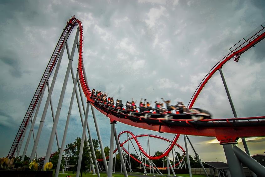 rollercoaster in an amusement park