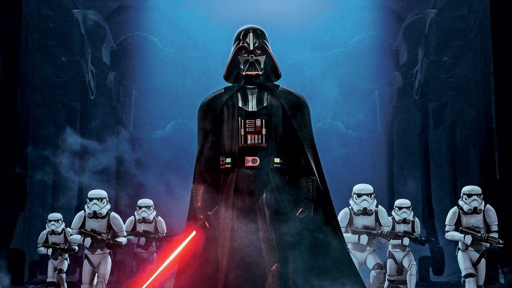Darth Vader leads a group of six stormtroopers