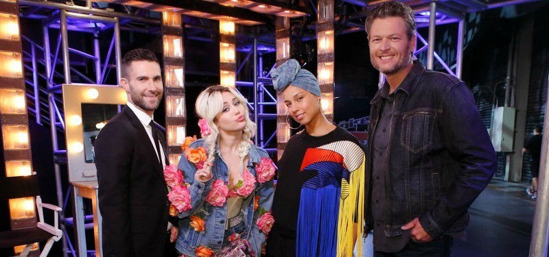 Adam Levine, Miley Cyrus, Alicia Keys, and Blake Shelton backstage on The Voice.