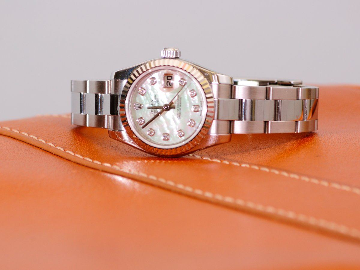 A wristwatch on leather