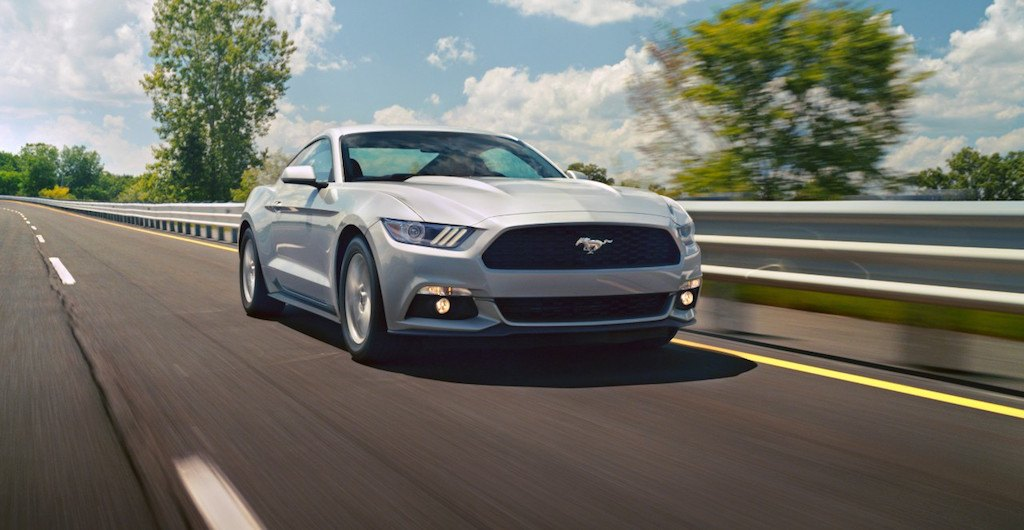 A 2015 Ford Mustang EcoBoost rides the open road