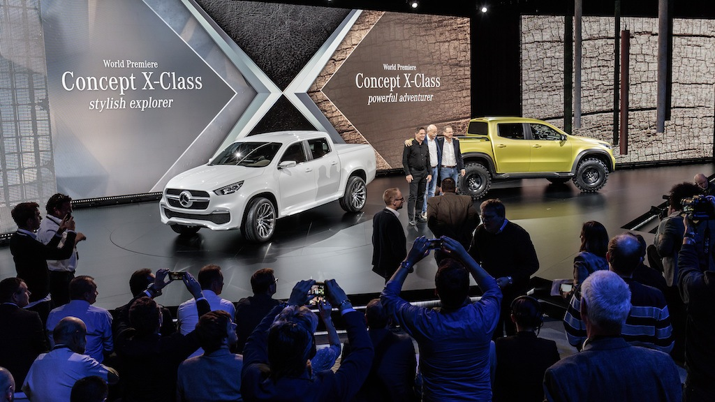 Gorden Wagener, Dr Dieter Zetsche, and Volker Mornhinweg at the reveal of the Mercedes-Benz Concept X-CLASS | Mercedes Benz