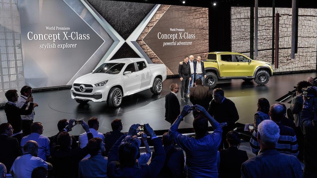 Gorden Wagener, Dr Dieter Zetsche, and Volker Mornhinweg at the reveal of the Mercedes-Benz Concept X-CLASS | Mercedes Benz
