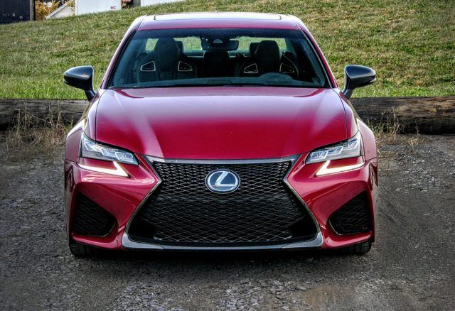 LED headlamps and running lights make the nose of the $90,000 2016 Lexus GS F even more intimidating
