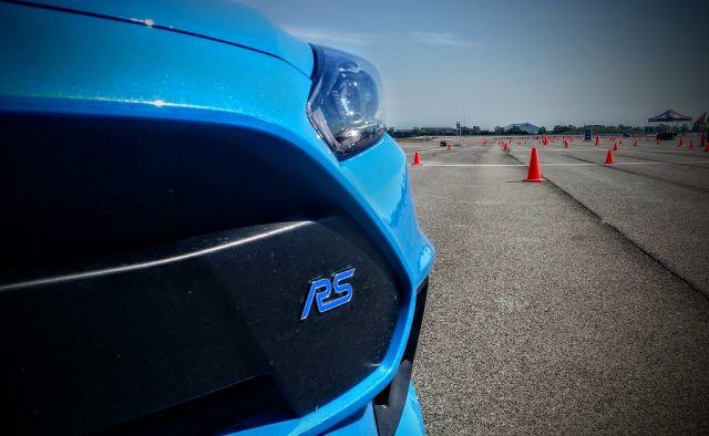 The Ford Focus RS badge is a subtle yet expressive touch to the hot hatch's front fascia