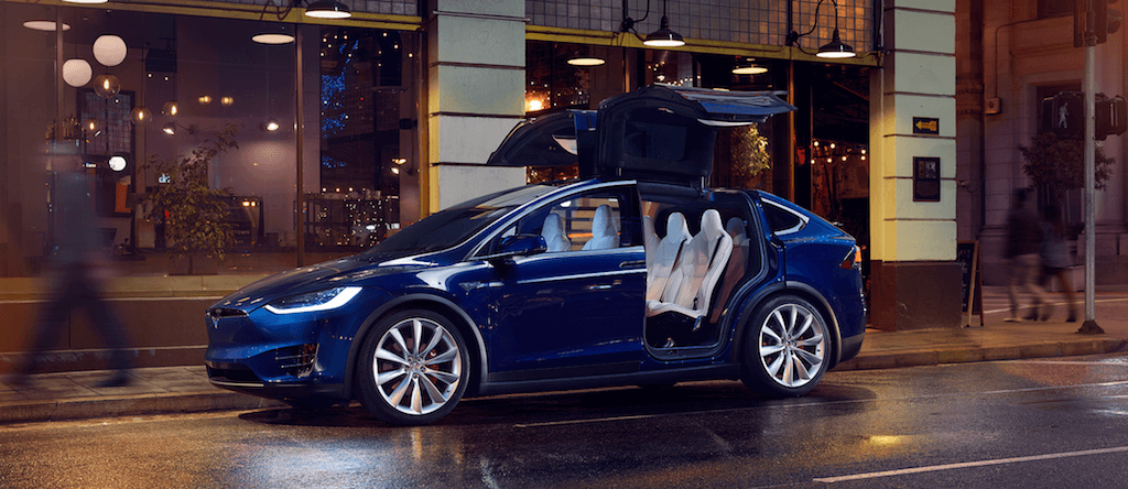 blue 2017 Tesla Model X on city street