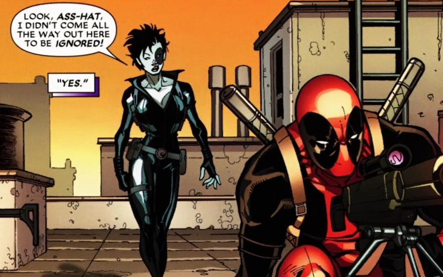 Domino approaching and speaking to Deadpool on a roof
