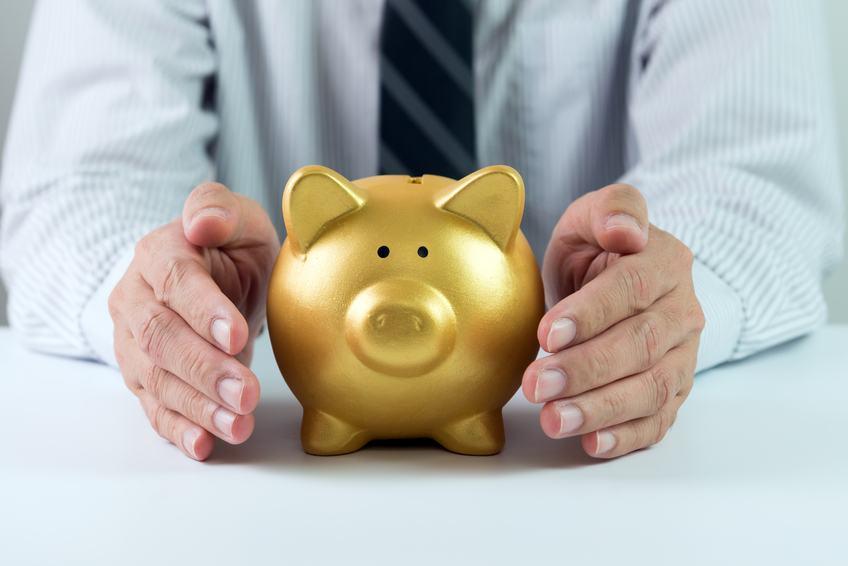 hands covering golden piggy bank