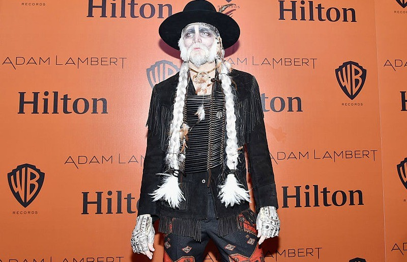 Adam Lambert dresses in a costume at a Halloween  party