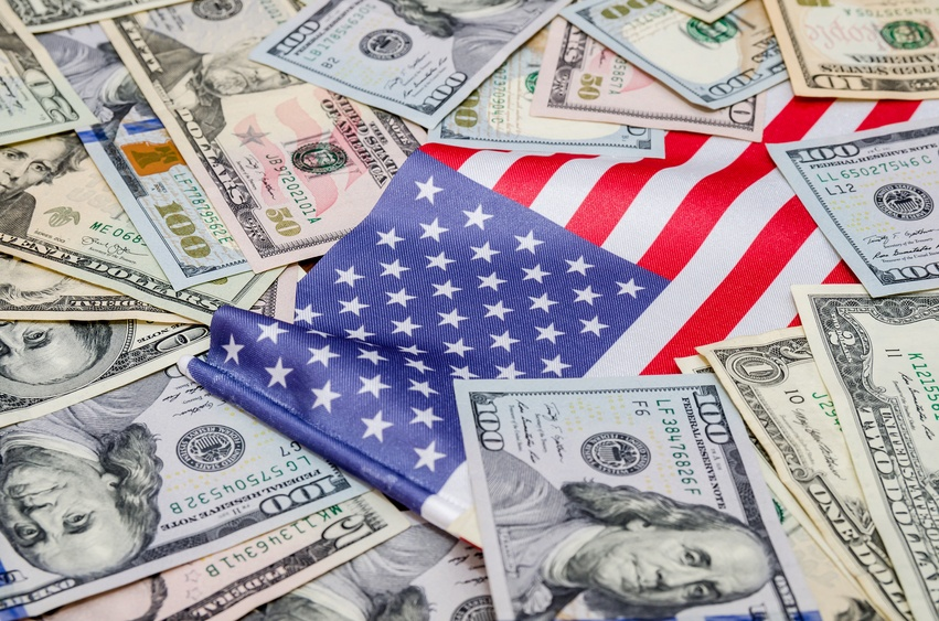 American dollars and flag