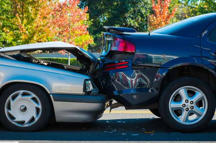 Auto accident involving two cars