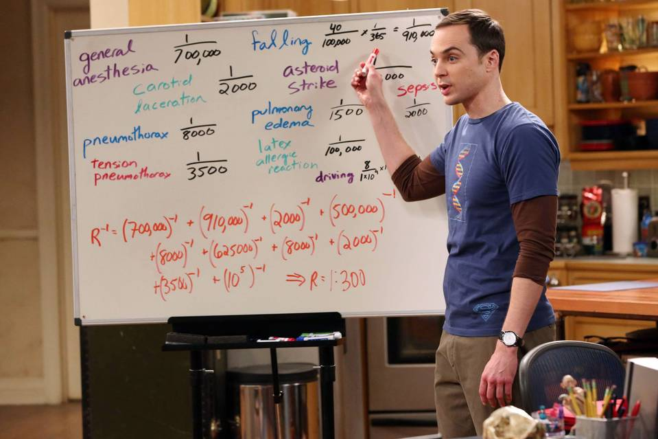 Jim Parsons' Sheldon stands in front of a whiteboard in The Big Bang Theory