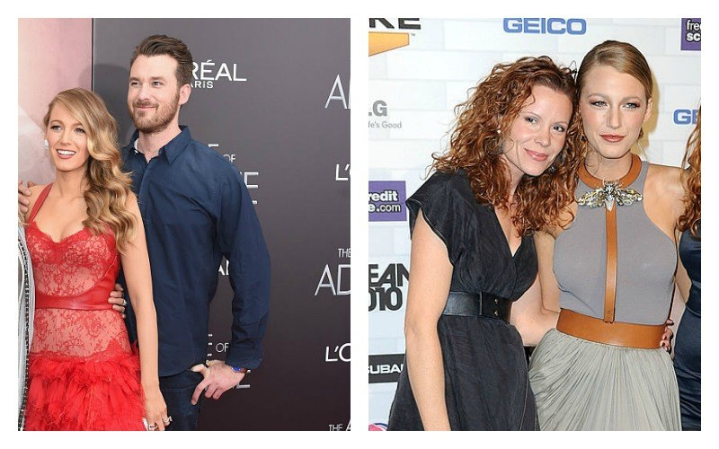 This is a side by side photo Blake Lively with Eric Lively and Blake Lively with Robyn Lively.