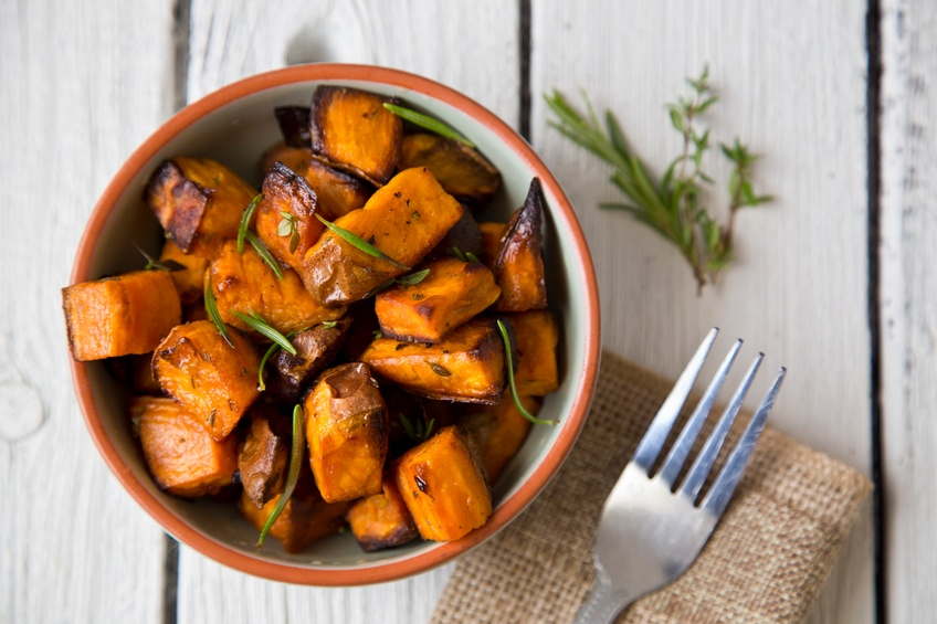 Oven roasted sweet potatoes with thyme
