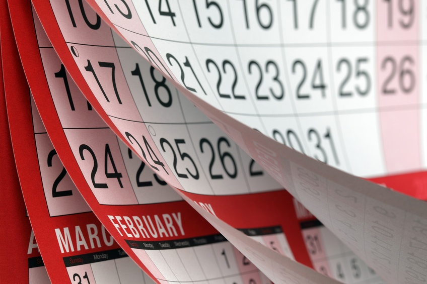 Months and dates shown on a calendar