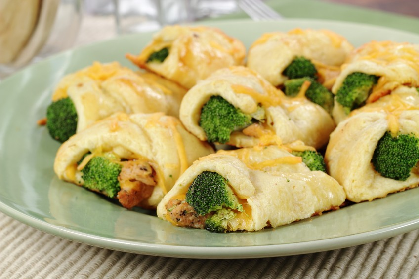 Chicken, broccoli, and cheddar cheese wrapped in croissant