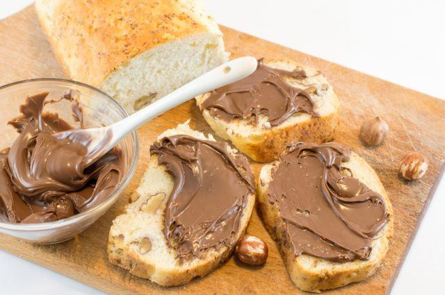 Chocolate on a walnut bread slices