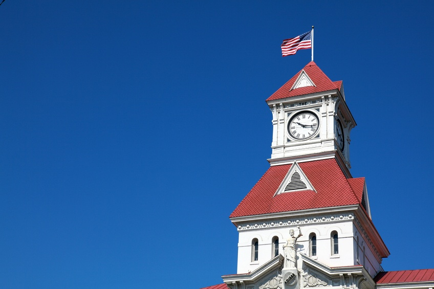 historic courthouse tower in Corvallis, Oregon
