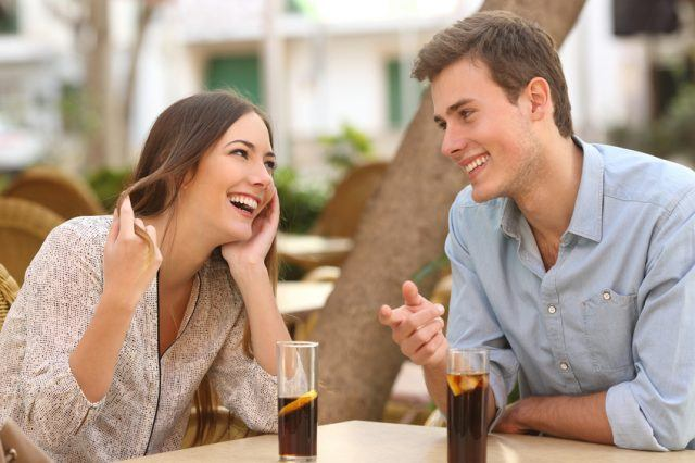 Couple dating and flirting