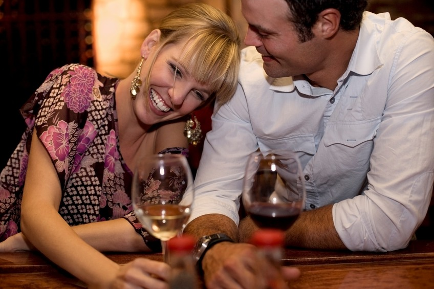 Couple enjoying drinks on a date