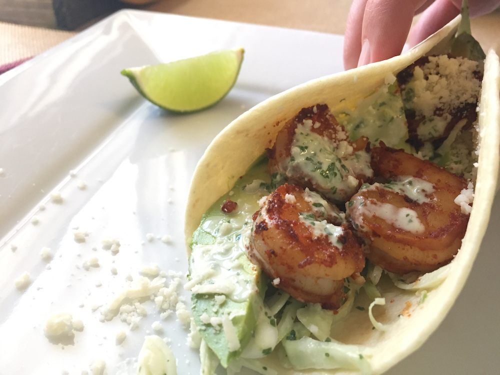 folded shrimp taco