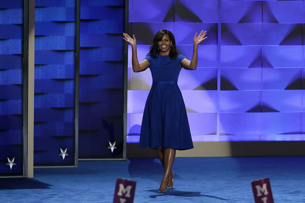 First lady Michelle Obama walks on stage