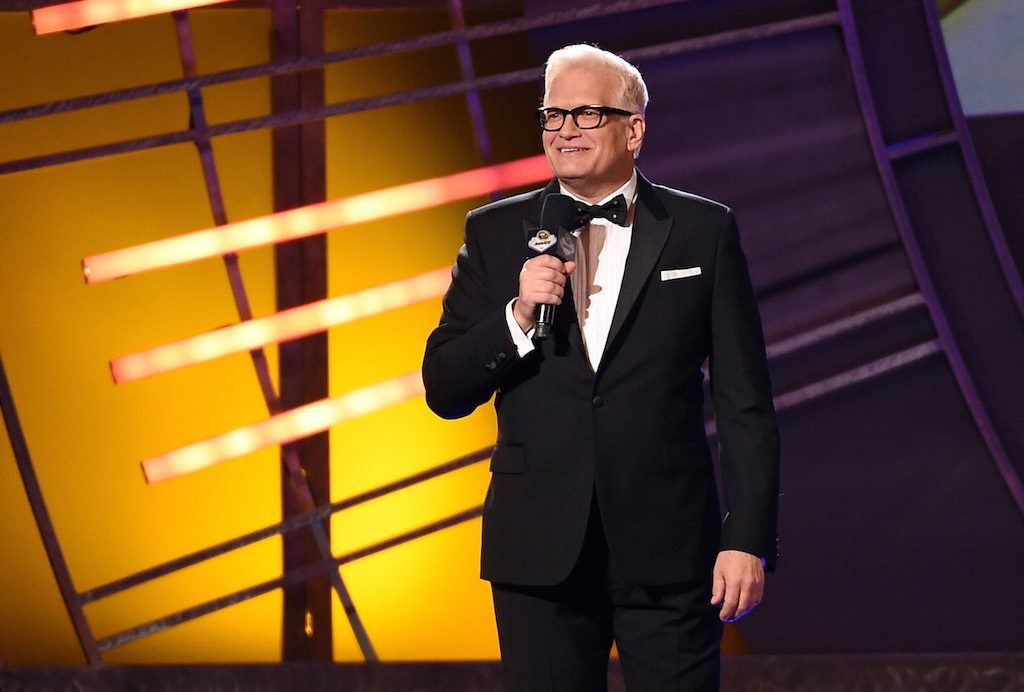 Host Drew Carey speaks during the 2015 NASCAR Sprint Cup Series Awards show