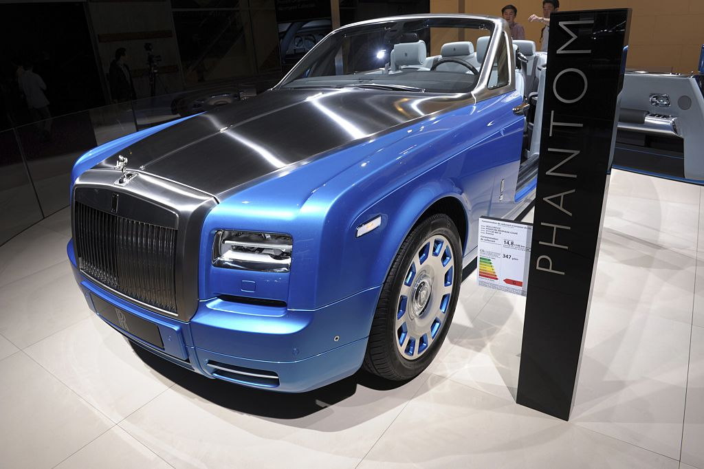 A Rolls-Royce Phantom Drophead Coupe is presented at the Paris Auto Show
