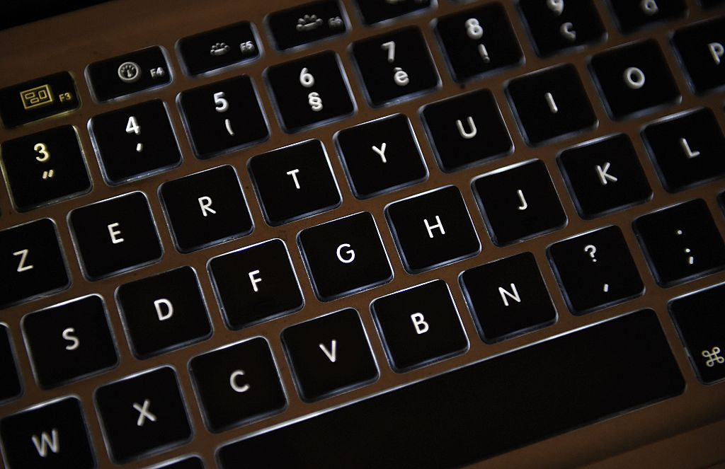 Azerty keyboard of a laptop computer