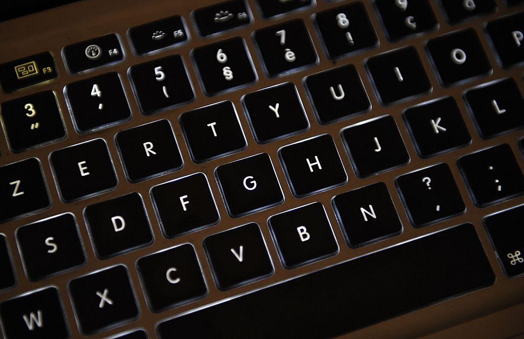 Azerty keyboard of a laptop computer