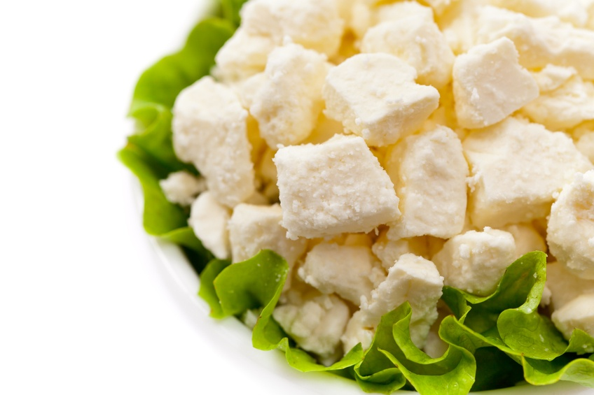 Feta Crumbled Cheese Isolated on White