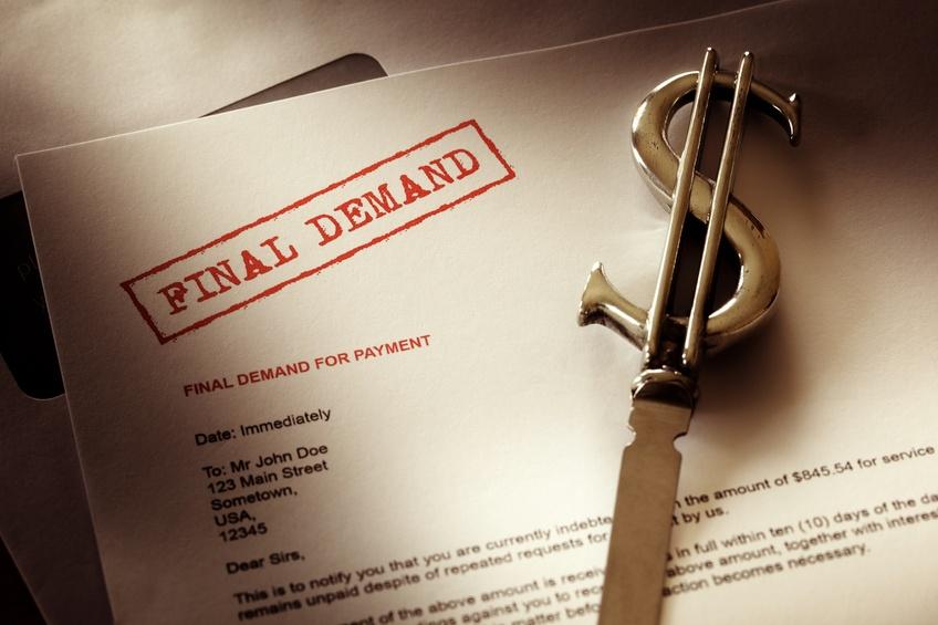 Final demand notice concept for debt