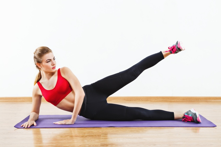 Woman doing hip abductions